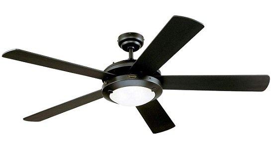Comet Matte Black Indoor Ceiling Fan for Large Rooms