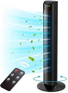 Homech Whole Room Auto Oscillating Tower Fan for Bedroom