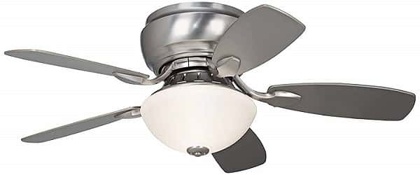 Casa Vieja Brushed Steel Low Profile Ceiling Fan with Light