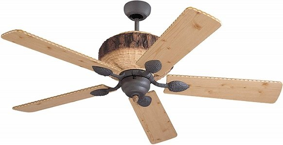 Monte Carlo Flush Mount Wood Finish Man Cave Ceiling Fan