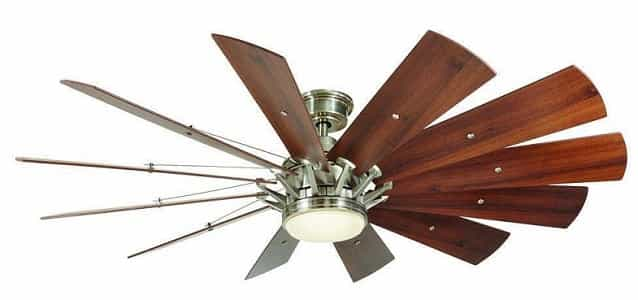 Home Decorators Trudeau Brushed Nickel Windmill Ceiling Fan with Light and Remote
