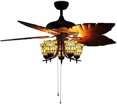 Makenier Vintage Tiffany Style Stained Glass 5-Light Flowers Decorative Ceiling Fan with Light