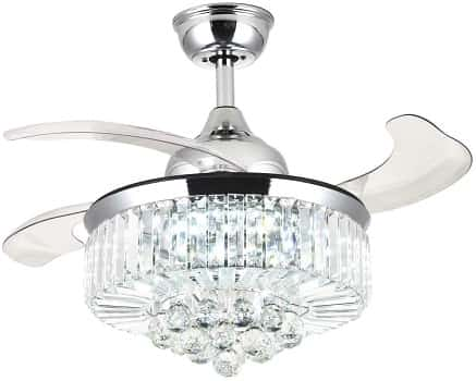 Moooni Dimmable Fandelier Crystal Ceiling Fans with Lights and Remote