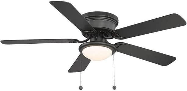 Hugger 52 Inch Flush Mount LED Indoor Black Ceiling Fan
