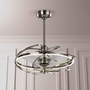 Contemporary Encased Ceiling Fan with LED Lights