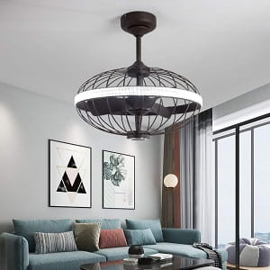Lxlong Cage Style Ceiling Fan with Light and Speaker