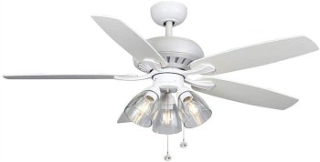 Hampton Bay Rockport LED Light Matte White Ceiling Fan