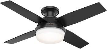 Hunter Dempsey Low Profile Matte Black Color Ceiling Fan