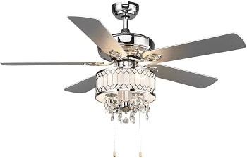 Tangkula 52 Inch Fancy Crystal Ceiling Fan with Lights