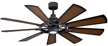 Kichler 300265DBK Gentry Old Fashioned Ceiling Fan with LED Lights