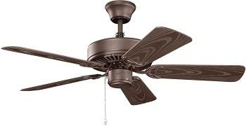 Kichler Basics Patio Satin Natural Bronze Outdoor Ceiling Fan