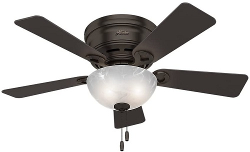 Hunter Haskell Indoor Low Profile Ceiling Fan with LED Light